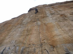 Rock Climbing Photo: Nate starting to bolt the last 1/3 of the route on...
