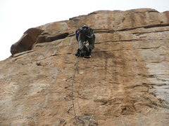 Rock Climbing Photo: The existing shuts just above Nate on his right we...