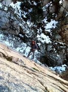 Rock Climbing Photo: Mike lowering of the sidewalk ledge