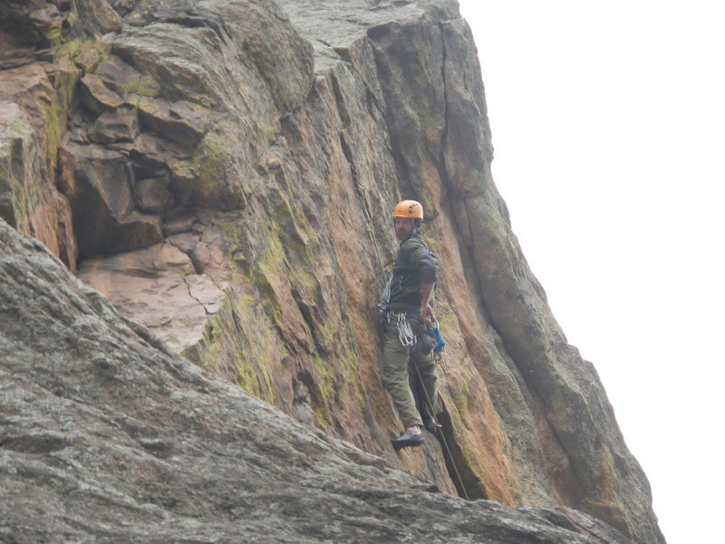 Rock Climbing Photo: At the crux of the lower triangle.