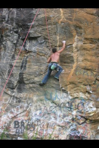 Rock Climbing Photo: Climbing Purple Russian 5.9+ at Pruitt Creek