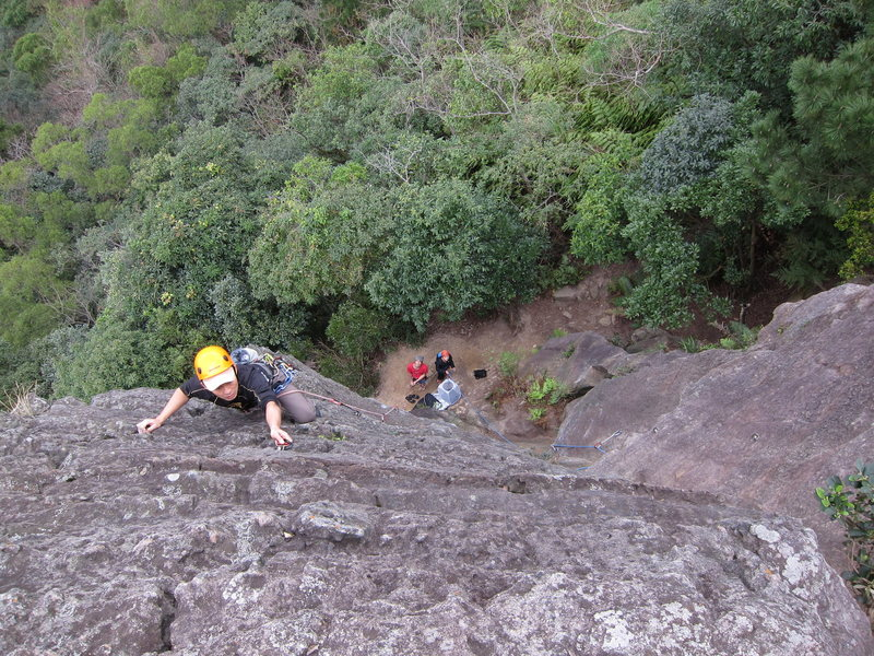 Taiwanese climbers on the first two routes of the Overhang Wall