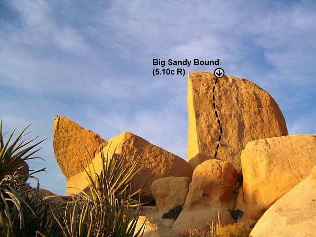 Big Sandy Bound (aka The Wetlands President) (5.10c R), Joshua Tree NP