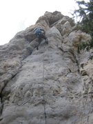 Rock Climbing Photo: Lee Laying it back into the fingers up top!