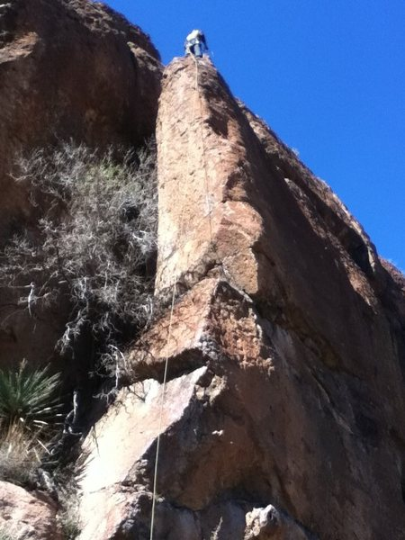 Climb the arete, starting on the left side.