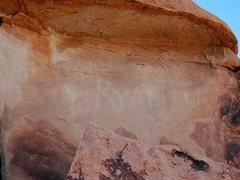 Rock Climbing Photo: Old grafitti near the Scorpion Roof, Joshua Tree N...