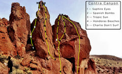 Rock Climbing Photo: Routes on the upper wall