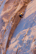 Lynn Sanson on the first ascent.