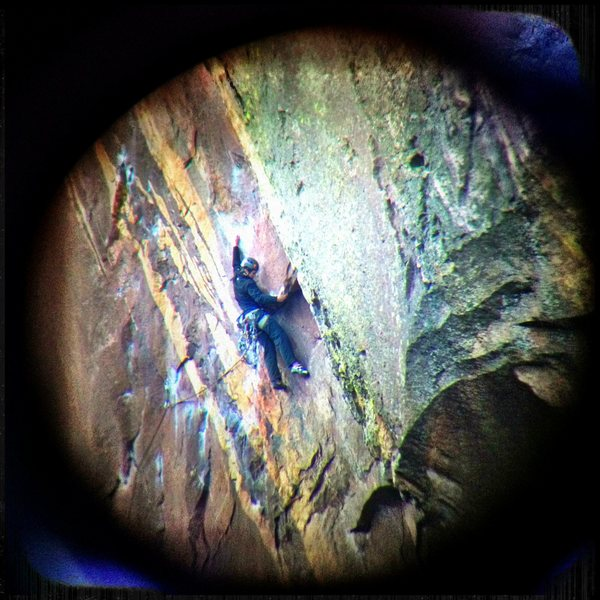 Unknown climber approaching the roof on 1.18.13.<br> <br> Photo taken through mounted scope on Fowler Trail.
