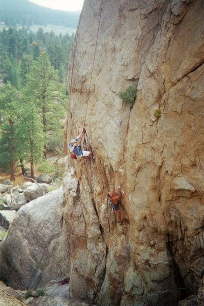 Pete starting up Unforgiven (5.11b), Holcomb Valley Pinnacles