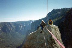 Rock Climbing Photo: Lost Arrow Spire tyrolean traverse, Yosemite Valle...