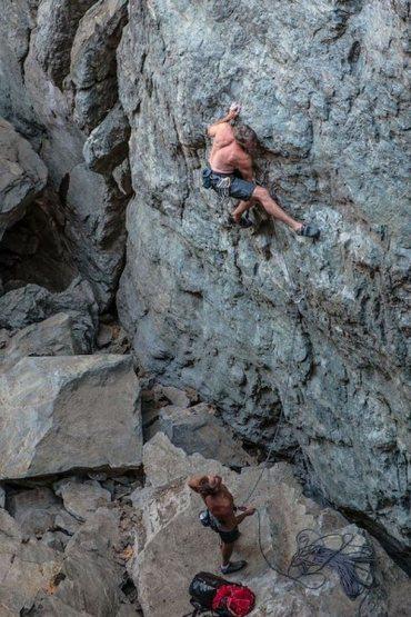Mike on Super Alpine .11a. Emeralds, Upper Gorge.  pic; josh horniak