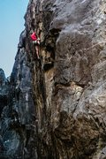 Rock Climbing Photo: Mike Carville finishing Repo Man .12d. Wishing Wel...