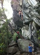 Rock Climbing Photo: Ethan on Bear Trap .11a/b. Bear's Lair. Emeralds, ...