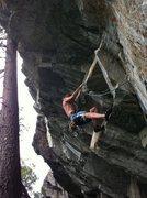Rock Climbing Photo: Josh Horniak heading up Peer Pressure .12a. Bear's...