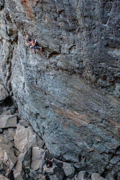 Hansi - third ascent of Drama Queen .12a. Emeralds. Upper Gorge.