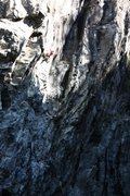 Rock Climbing Photo: Tom Addison heading into the crux on Whirl Pool .1...