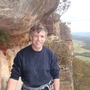 Ray Sharples at the top of Eternity (Grade 19), Mt Piddington, Blue Mountains, Australia.