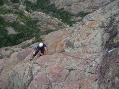 Rock Climbing Photo: Jason Patton following pitch 4 of RSTS during FA