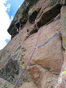 Rock Climbing Photo: Jason Patton leading pitch 5 of RSTS during FA