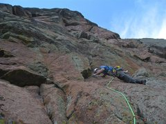 Rock Climbing Photo: Brad Ellen casting off on the 5.11 pitch of Daisy ...