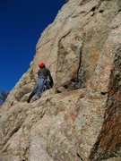 Davito Hammack nearing the end of pitch 2. We only roped up for 4 pitches during our link up with the Odyssey.