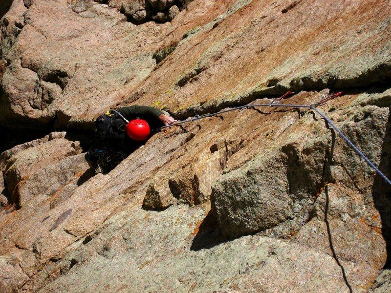 Rock Climbing Photo: Davito Hammack following the finger crack variatio...