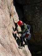 Rock Climbing Photo: Davito Hammack up high on SID where it meets Procr...