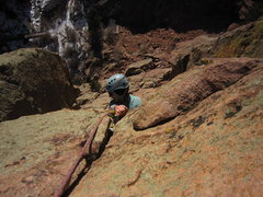 Rock Climbing Photo: Kat A. finds the jug over the Rastaman Roof and re...