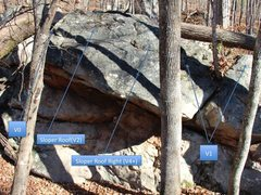 Rock Climbing Photo: Dugout Topo.  Sloper Roof Left uses two slopers at...