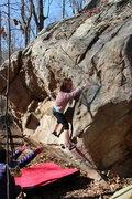 Rock Climbing Photo: Kara Edmonds entering the crux section of the trav...