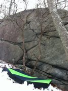 Rock Climbing Photo: A better look at the zig zagging vertical crack.