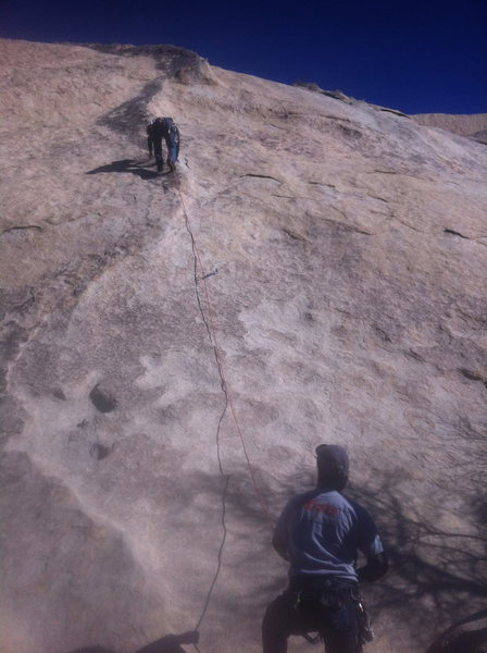 Rock Climbing Photo: One his way to 2nd bolt.