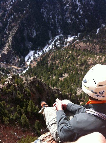 P4 Belay Ledge. Gambit, Eldorado Canyon.