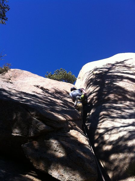 Eddie Leading Admission Crack, Upper Infirmary Slabs, South St. Vrain Canyon.