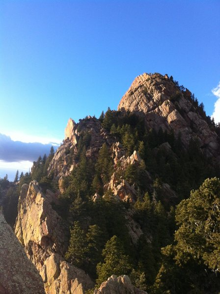 Looking N from the top out of Rewritten. Eldorado Canyon SP, CO.