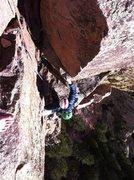 Rock Climbing Photo: Eddie finishing up P4 of Rewritten.