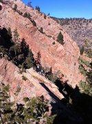 Rock Climbing Photo: John traversing to rap anchors after topping out o...