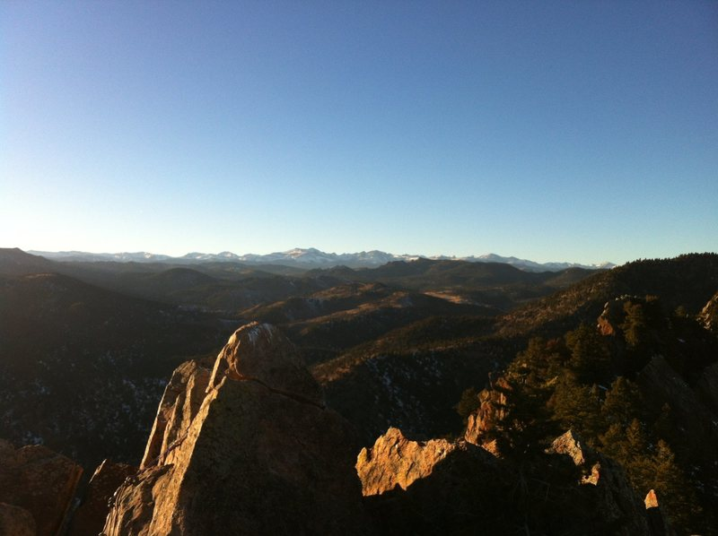 Looking West from the top out of Gambit. Eldorado Canyon SP, CO.