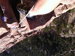 Rock Climbing Photo: Looking down from midway up the final pitch of Gam...