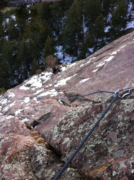 Rock Climbing Photo: A snowy day on the First Flatiron. Off route on Ba...