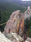 Rock Climbing Photo: John mid-traverse. Tyrolean Traverse, Gregory Amph...
