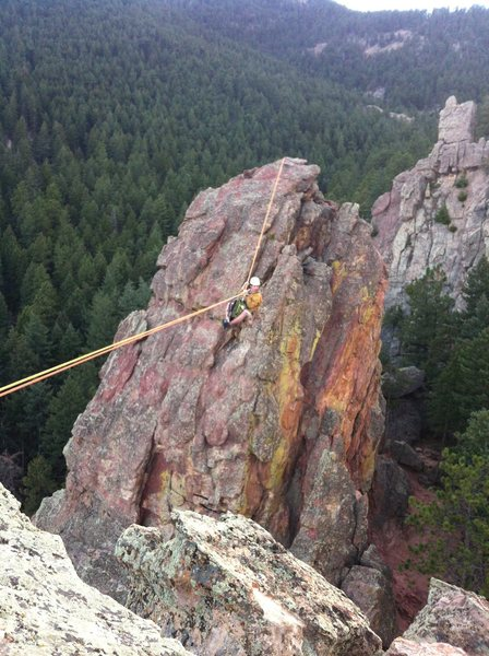Rock Climbing Photo: John airing it out mid traverse. Ropes used were t...