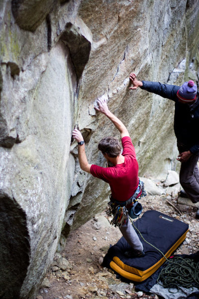 Jeremy Frock working out the bouldery start.