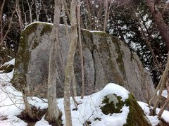 Mossy on the left. Mossy Crack (V0)in the Middle. Mossy Arete (V0) on the right.