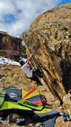 Rock Climbing Photo: Chris measures the move to the lip on Antifaz.