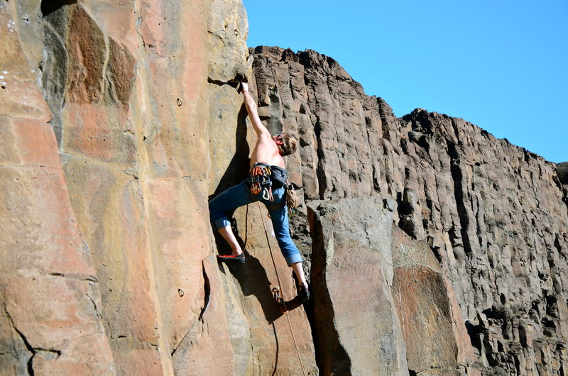 Rock Climbing Photo: Making the reach to the jug after some arete slapp...