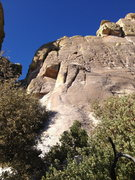 Rock Climbing Photo: Context for the route.  The climb starts at the we...