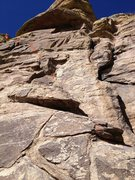 Rock Climbing Photo: Looking at the base of the climb.  Six bolts trend...
