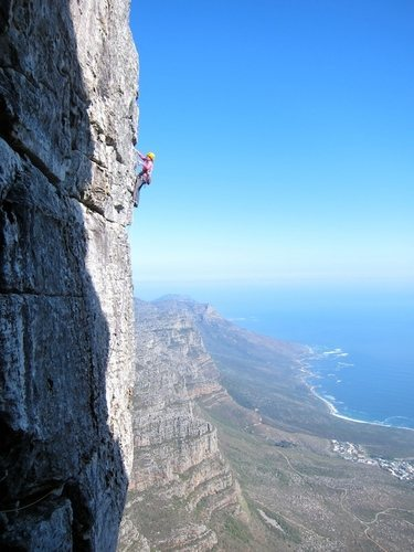 Trish Gaertner on the traverse pitch of Jacobs Ladder. Photo by Robert Breyer